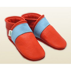 Baby Lederpuschen -feuerrot/Streifen himmelblau