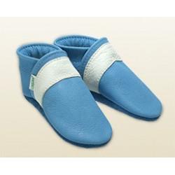 Babyschuhe -himmelblau/Streifen schneeweiss